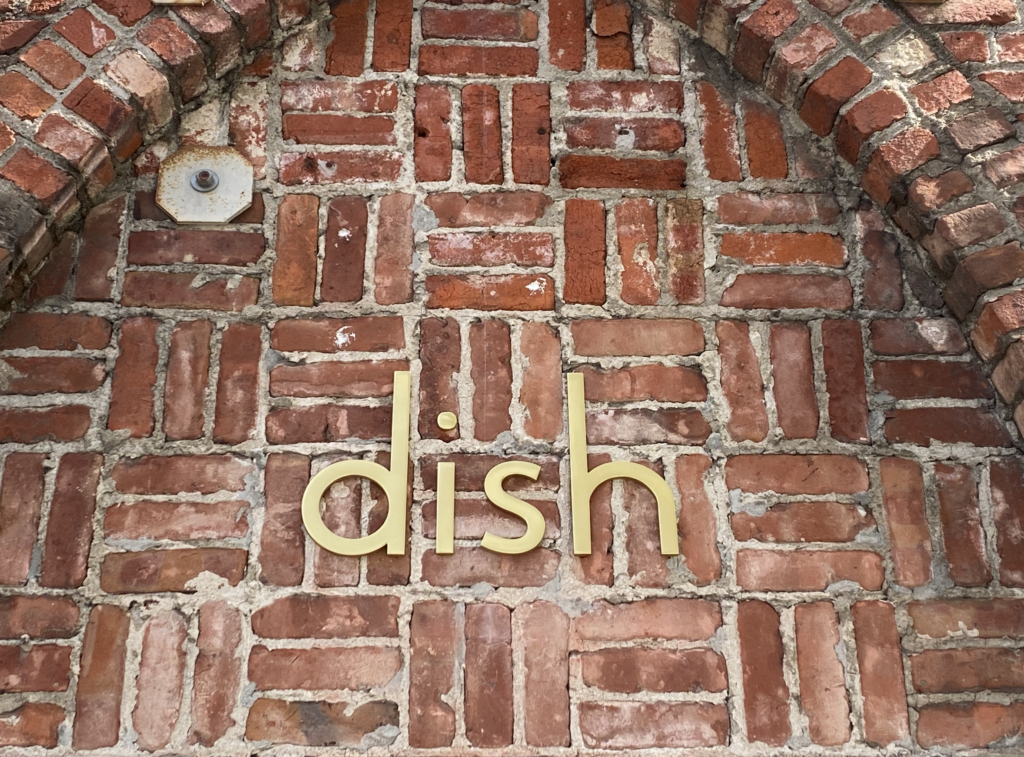 Polished gold anodized aluminum letters fabricated and installed for Dish Boutique by San Francisco Berkeley Signs