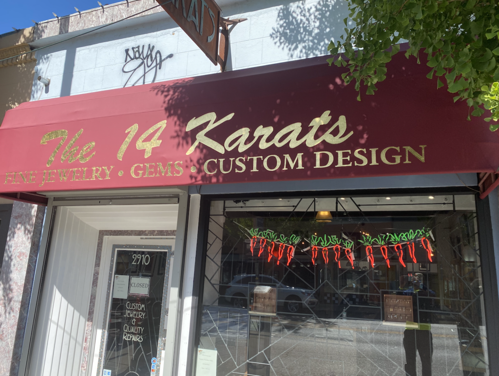 23K Gold Leaf Gilding on Storefront Business Canvas Awning by Berkeley Signs San Francisco Bay Area Sign Company